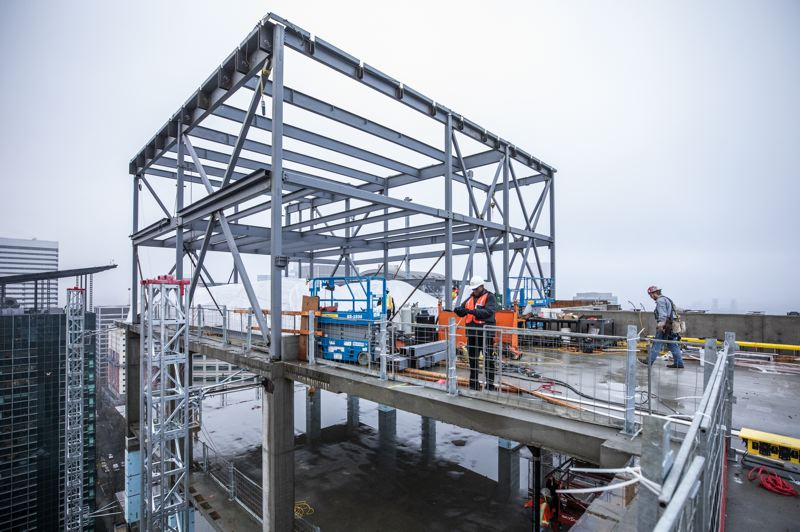 TRIBUNE PHOTO: JONATHAN HOUSE - The top of the new Multnomah County Courthouse building will feature mechanical systems and a photovoltaic array panel. Energy generated will be used to power Hawthorne Bridge lifts and lights.