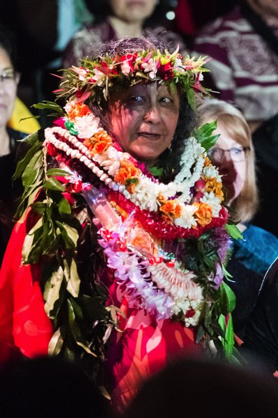 STAFF PHOTO: CHRISTOPHER OERTELL - Edna Gehring was honored at the Pacific Lu'au in April for her years of service as faculty advisor for Na Haumana O Hawai'i.