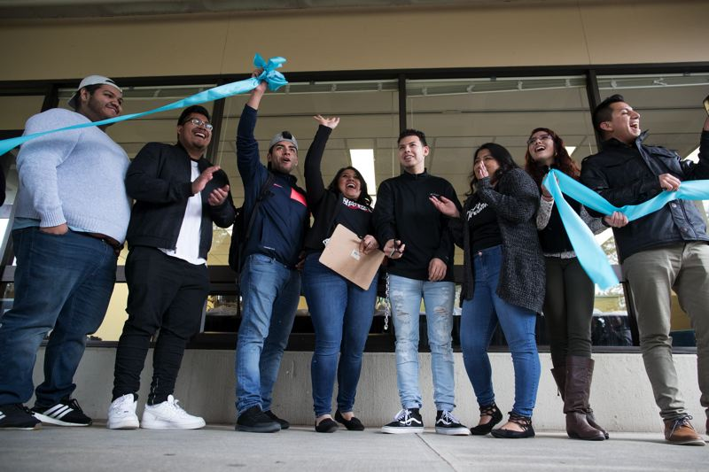 STAFF PHOTO: JAIME VALDEZ - Portland Community College students celebrate the opening of the DREAM Center at the Rock Creek campus in January.
