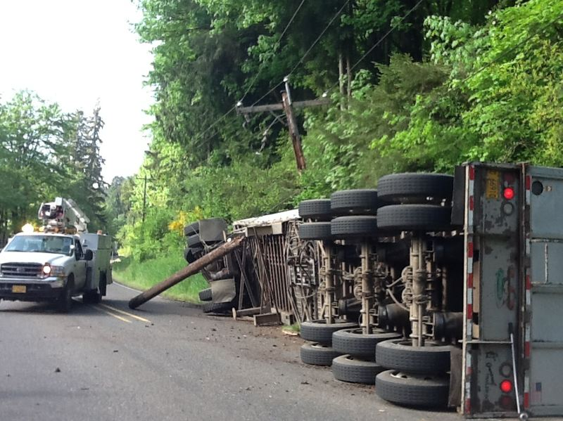 COURTESY MULTNOMAH COUNTY - This is one of many trucks that have crashed on the narrow and twisty Multnomah County portion of Cornelius Pass Road over the years.