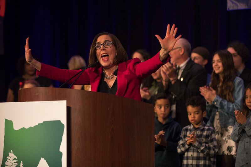 STAFF PHOTO: JONATHAN HOUSE - Gov. Kate Brown rejoices Nov. 6 after early returns showed she earned a second term.