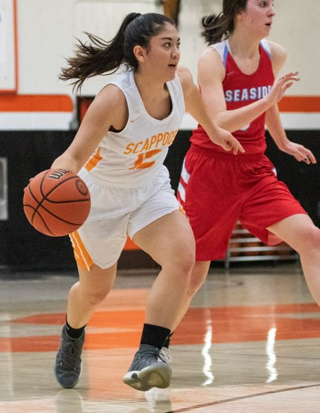 PHOTO COURTESY: LOREN WOHLGEMUTH - Allison Wills of Scappoose handles the ball on the attack in a recent game against Seaside.