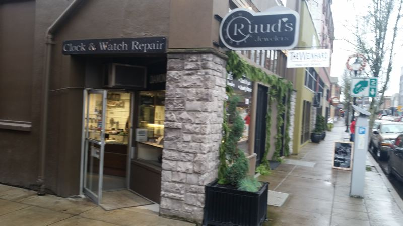 PHOTO BY RAYMOND RENDLEMAN - Ruud's Jewelers occupies a downtown storefront that faces both an alley and Main Street at a diagonal.