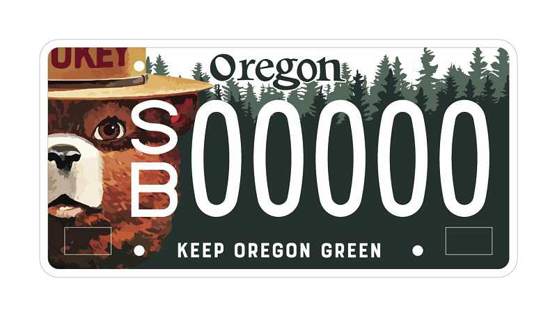 SUBMITTED PHOTO - A new Smokey Bear license plate is set to launch if at least 3,000 people sign up for vouchers, contributing to the Keep Oregon Green fire prevention message.