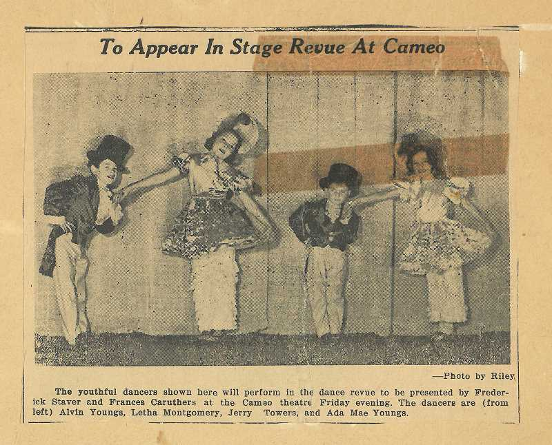 SUBMITTED PHOTO - Jerry Towers (third from left) performed at the historic Cameo Theatre when he was about 5 years old, meaning he took the stage nearly 80 years ago.