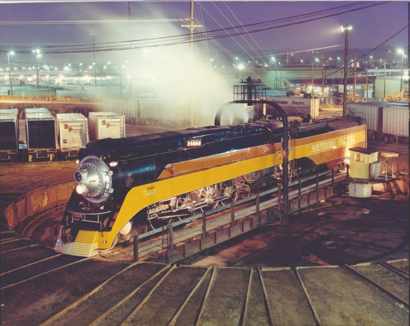COURTESY DOYLE MCCORMACK - The Southern Pacific 4449 sitting on the turntable at Union Pacific Brooklyn Yards before it was disassembled. The fully-restored, city-owned steam locomotive is now housed at the  Oregon Rail Heritage Center, where the turntable will be reinstalled.