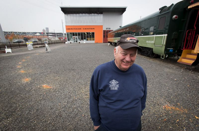 PORTLAND TRIBUNE: JAIME VALDEZ - Oregon Rail Heritage Center President Doyle McCormack stands where orange paint marks the location that a 95-year-old turntable from the Union Pacific Brooklyn Rail Yard will be installed next to the museum.