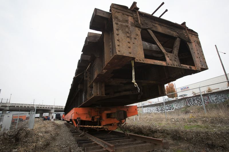 PORTLAND TRIBUNE: JAIME VALDEZ - The main part of the turntable currently sits on a railcar near where it will be installed.