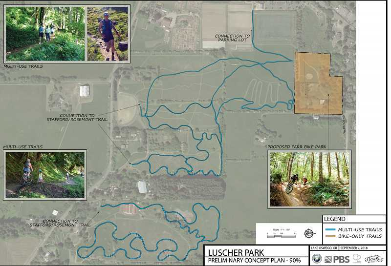 PHOTO COURTESY OF THE CITY OF LAKE OSWEGO - The proposed new multi-use trails at Luscher Farm would connect existing facilities and infrastructure to the new Farr Bike Park (highlighted at right) on the northern edge of the property.