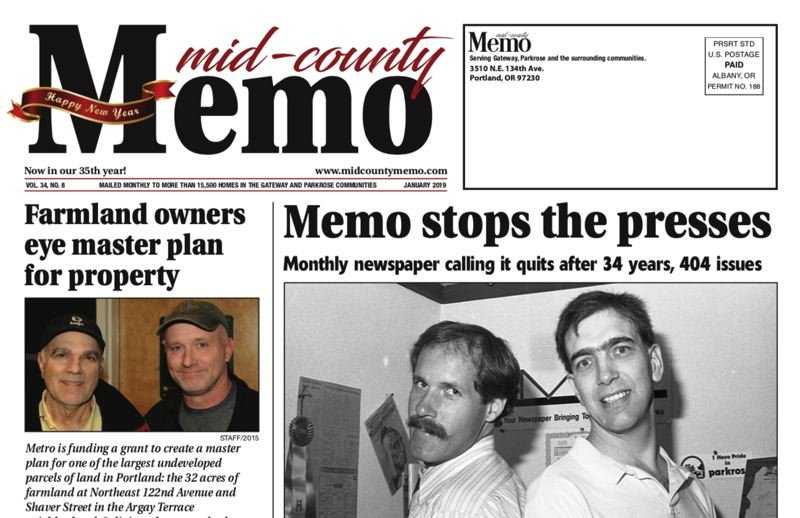 MID-COUNTY MEMO - The final front page of the Mid-County Memo will be mailed out on Jan. 1. Publisher Tim Curran is shown at left in a black-and-white photo from August, 1991.