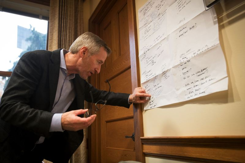 TRIBUNE FILE PHOTO - Mayor Ted Wheeler in late November told reporters he's accomplished a lot in the first two years of his term — reading from brainstorming notes hanging on the wall of his City Hall office. He downplayed an earlier muttered gripe that suggested he planned not to run for reelection in 2020.