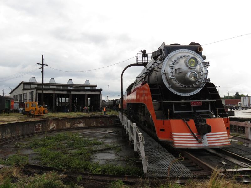 COURTESY TERRY THOMPSON - Another pictures of the SP 4449 on the turntable in front of the former Roundhouse in the Southern Pacific Brooklyn Yard. The Roundhouse has been demolished and the turntable will be installed at the Oregon Rail Heritage center.