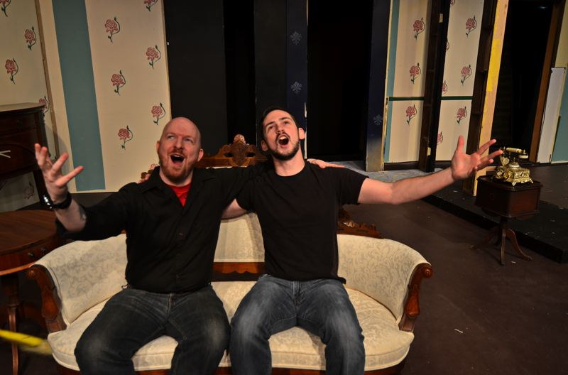 CONTRIBUTED PHOTO: MICHAEL HENLEY - Seth Yohnka playing Tito and Robert Altieri playing Max in Sandy Actors Theatre's upcoming production of 'Lend Me a Tenor.'