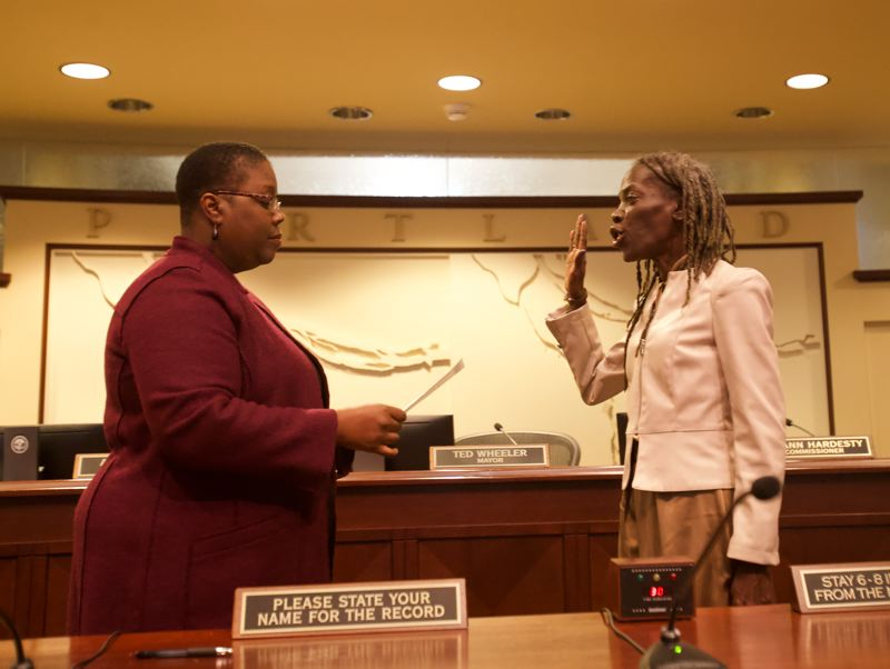 TRIBUNE PHOTO: JAIME VALDEZ - Longtime Portland activist Jo Ann Hardesty was sworn in to the Portland City Council on Wednesday morning, making her the first African-American person to hold the post. She was sworn in by Oregon's first African-American Supreme Court Justice, Adrienne Nelson.