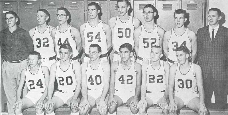 SUBMITTED PHOTO - The 1961 2A state champion Madras White Buffalo team included, from front left, Phil Stevenson, Gary Moe, Danny Tingle, Vernon Tanewasha, Fred Steele and Phil Fields. Back left, manager Dennis Miller, Gregg Macy, Alan Stewart, Joe Piedmont, Chuck Hill, Ron Tolley, Gerry Galbraith and Coach Ole Johnson. Not pictured are Tommy Clark and manager Craig Leslie.