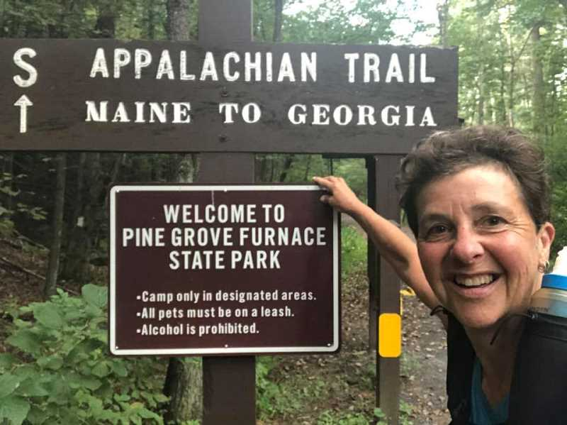 COURTESY PHOTO: CAROL WILSON - Carol Wilson poses while hiking the second leg of her hike across the Appalachian Trail.