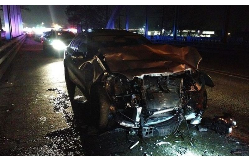 PHOTO COURTESY GLADSTONE POLICE DEPARTMENT - Gladstone police say a drunk driver struck an officer in a patrol vehicle early on Jan. 1.