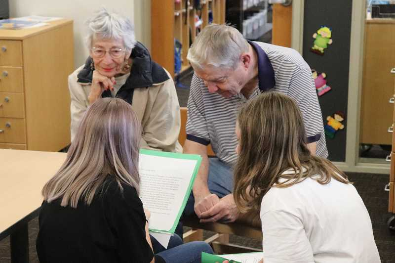 PHOTO ANDREW KILSTROM - Lowrie students share stories they wrote about SpringRidge residents in Wilsonville.