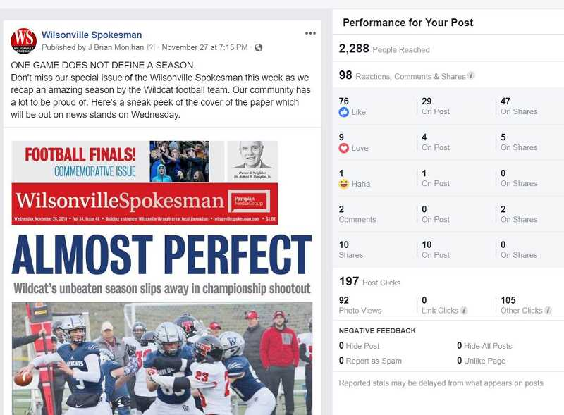 SPOKESMAN FACEBOOK - The most liked Facebook post reflected the communitys love and support of the Wilsonville High School Wildcats football.