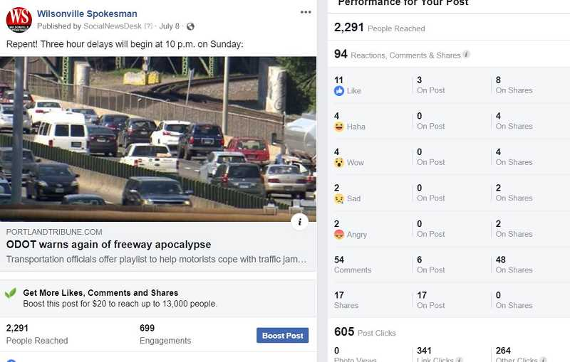 SPOKESMAN FACEBOOK - When it comes to passing on the news you think your friends and neighbors should know about, one post above all received the most shares of any Spokesman Facebook post and it involved upcoming road construction and traffic snarls.
