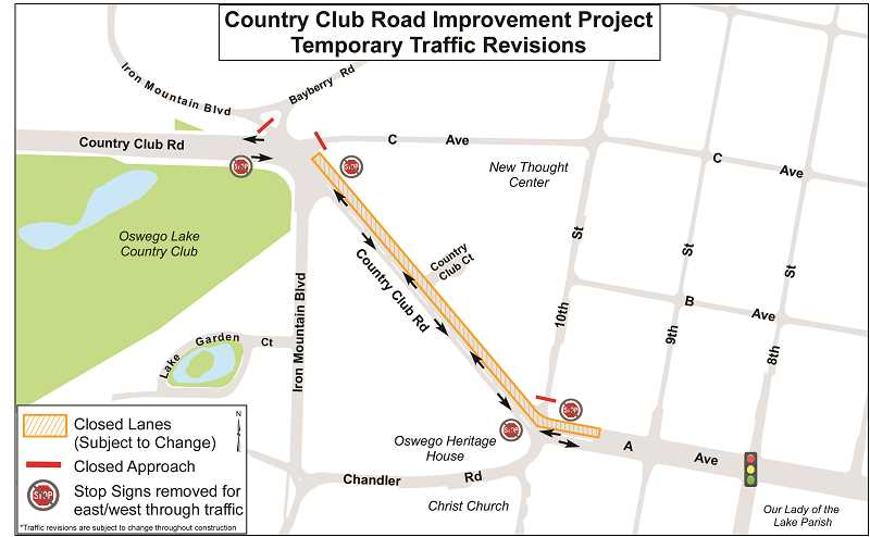 PHOTO COURTESY OF THE CITY OF LAKE OSWEGO - Closures and traffic pattern changes will impact a busy stretch of Country Club Road during a construction and repaving project expected to begin during the week of Jan. 7.