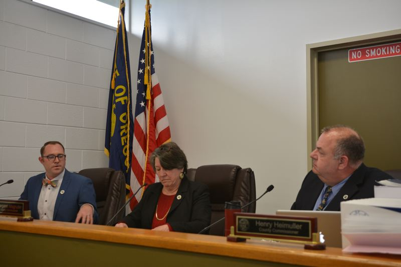 SPOTLIGHT PHOTO: COURTNEY VAUGHN - Columbia County commissioners discuss board chair and vice chair appointments during a Jan. 2 meeting. Pictured left to right: Commissioners Alex Tardif, Margaret Magruder and Henry Heimuller.