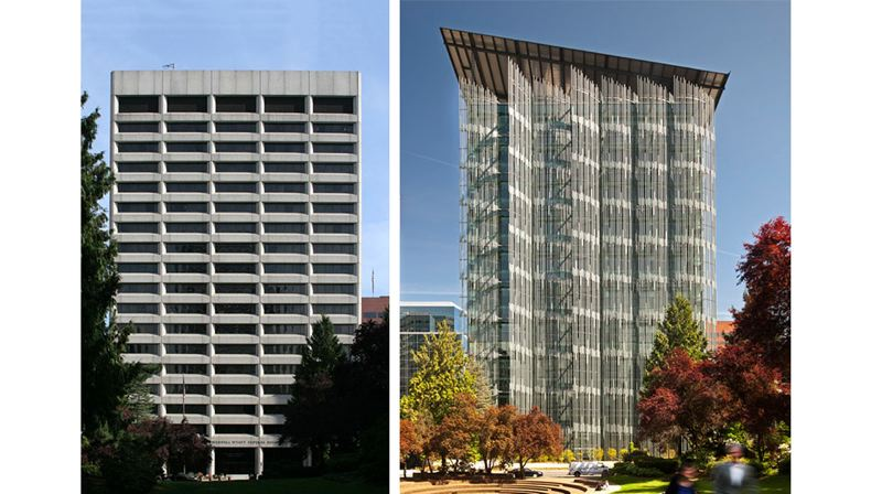 COURTESY: SERA - The Edith Green-Wendell Wyatt Federal Building (home to the IRS) both before (left) and after (right) its redesign by SERA Architects and Cutler Anderson.