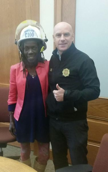COURTESY PF&R - Portland City Commissioner Jo Ann Hardesty with Portland Fire Chief Mike Myers, on Jan. 3.