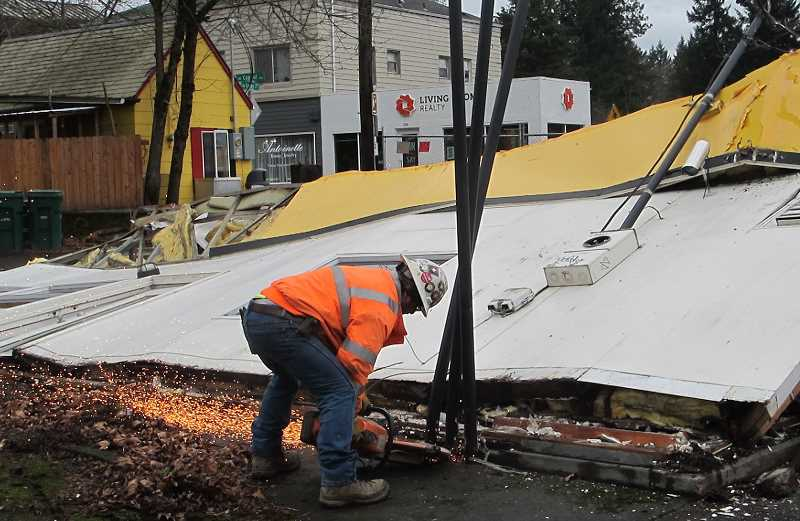 Heavy metal cutters were brought in once the main building had collapsed.