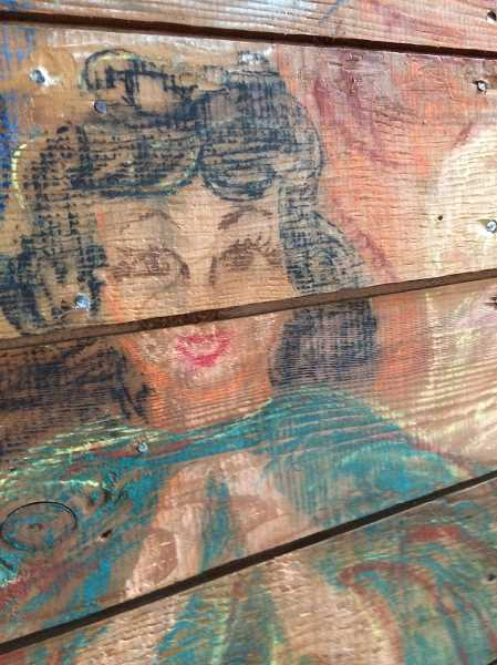 CAROL ROSEN - A close up of the details in the chalk mural.