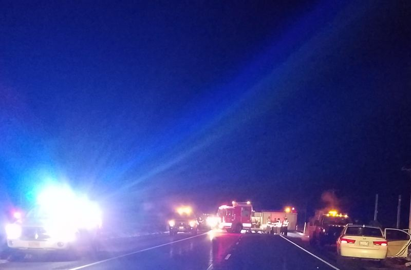 OREGON STATE POLICE PHOTO - Police and first responders respond to a pedestrian death on Highway 97 in Oregon on Jan. 2.