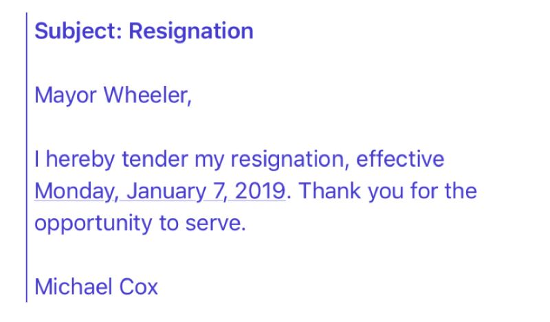 PUBLIC RECORD - A full copy of Michael Cox's resignation email to Portland Mayor Ted Wheeler is shown here.