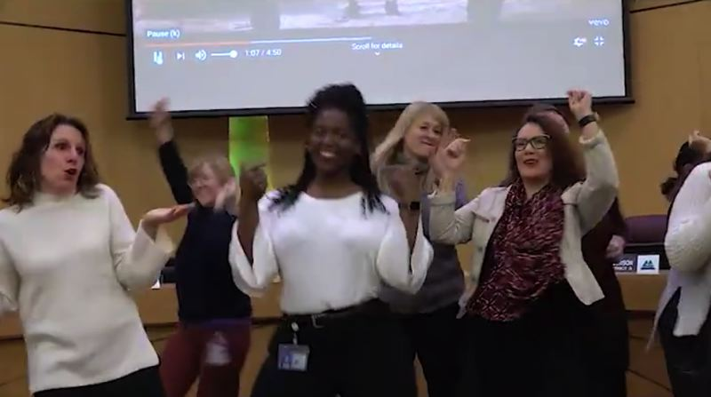 SCREENSHOT - Multnomah County Chair Deborah Kafoury, far left, and Commissioner Jessica Vega Pederson dance before the dais on Friday, Jan. 4.