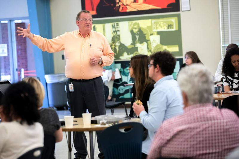 TRIBUNE FILE PHOTO - Oregon Health Authority director Patrick Allen spoke last year during the Future of the Oregon Health Plan open house at Madison High School.