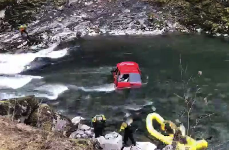 SCREENSHOT - Clackamas County rescuers work to pull a red Chevrolet Tahoe from the Collawash River on Jan. 5.