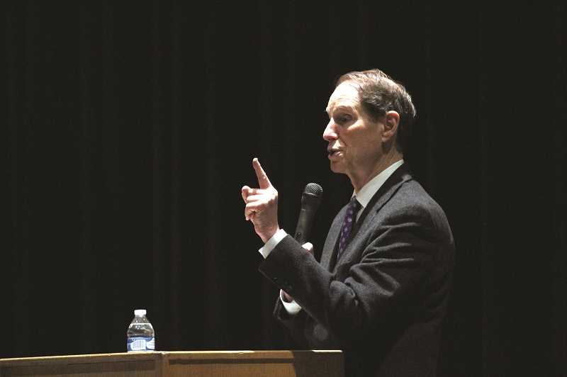 PHIL HAWKINS - U.S. Senator Ron Wyden (D) held his 920th town hall meeting since being elected in 1996, hosting community members from Marion County at Woodburn High School on Monday.