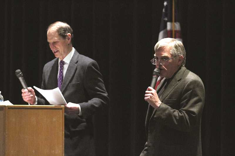 PHIL HAWKINS - Woodburn Mayor Eric Swenson introduced U.S. Senator Ron Wyden and served as moderator of Wydens town hall meeting at Woodburn High School on Monday.