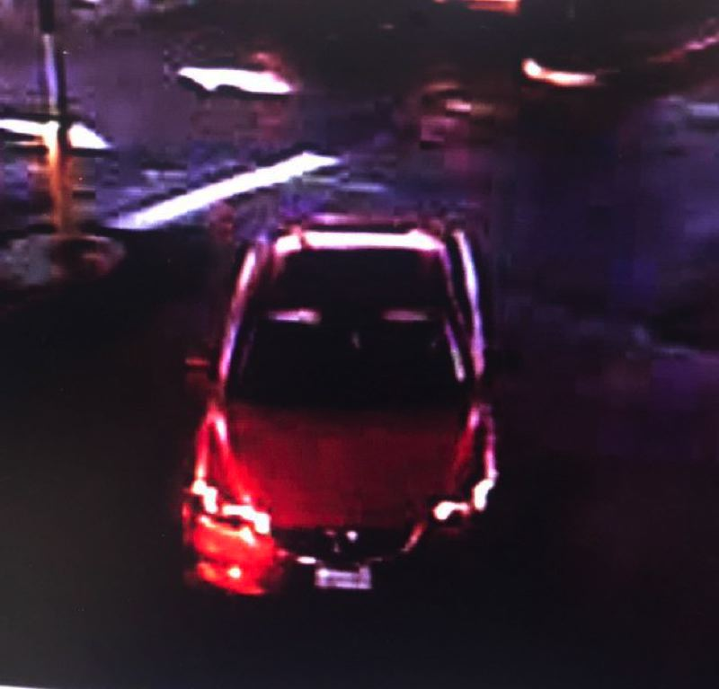 PHOTO COURTESY: CCSO - Clackamas deputies are looking for this suspect vehicle, described as a late model red sedan.