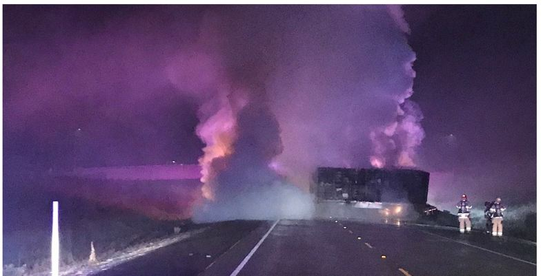 COURTESY PHOTO: OSP - Two people were killed in a fiery collision that closed the Newberg-Dundee Bypass early Monday morning, Jan. 7