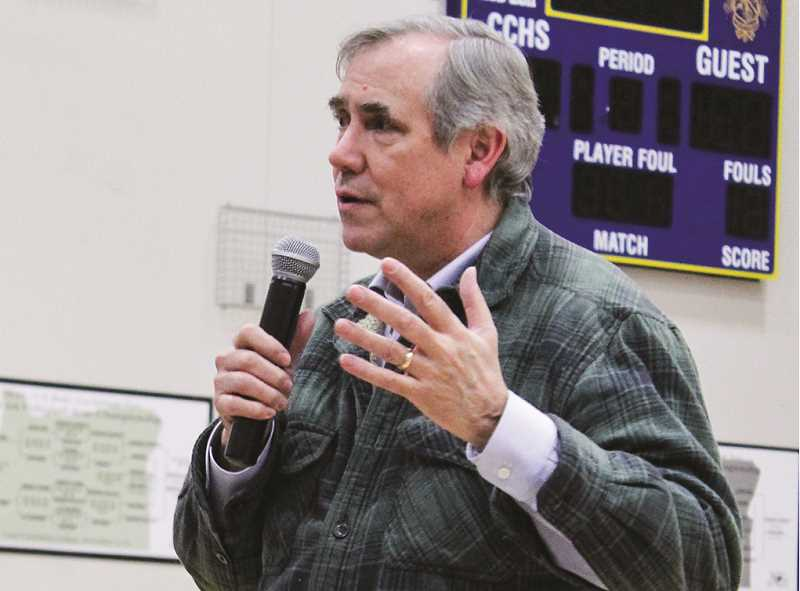 JASON CHANEY - U.S. Sen. Jeff Merkley covers a range of issues during his town hall forum at the Crook County High School gym Friday evening.