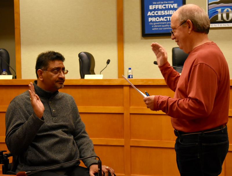 OUTLOOK PHOTO: MATT DEBOW  - Balwant Bhular is sworn in to Fairview City Council Position 4 on Wednesday, Jan. 2.