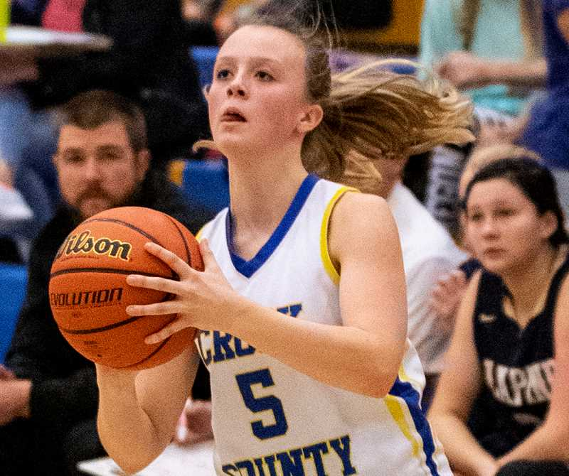 LON AUSTIN/CENTRAL OREGONIAN - Teagan Freeman sets to fire a shot in a game earlier this year. Freeman hit four three-point shots Saturday at Estacada, leading the Cowgirls with 12 points. Despite Freeman's effort, the Cowgirls still lost 41-37.