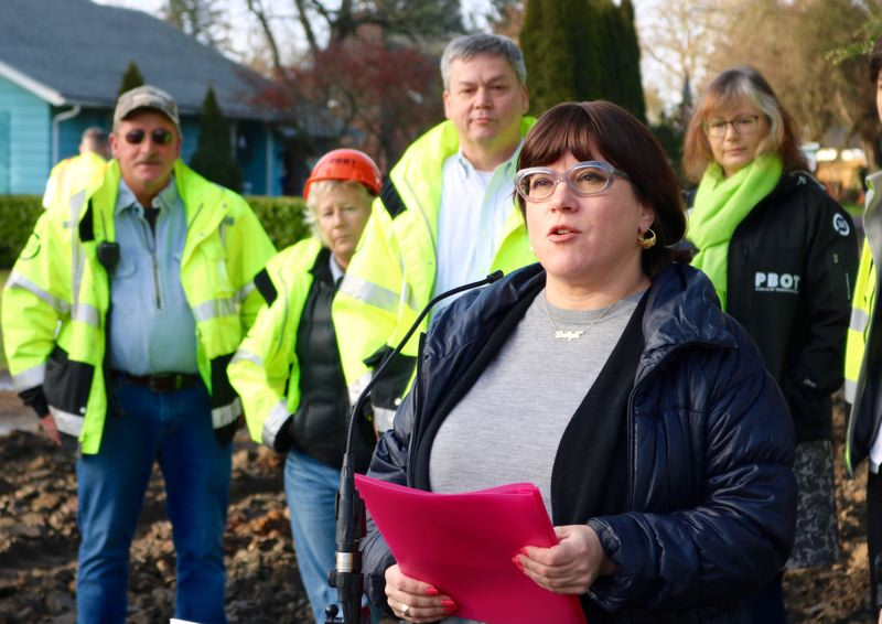 TRIBUNE PHOTO: ZANE SPARLING - Commissioner Chloe Eudaly announces the city of Portland's new Street Gravel Service on Monday, Jan. 7 in the Brentwood-Darlington neighborhood.