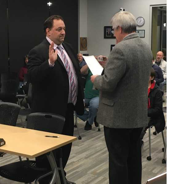 Canby Mayor Brian Hodson is officially sworn in for his fourth term at the Jan. 2 meeting.