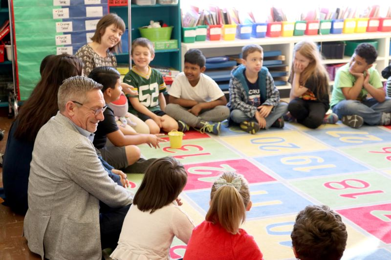 COURTESY PHOTO - Dan Ryan, CEO of All Hands Raised, is shown here during a confab with students in Multnomah County.