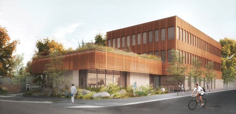 LEVER ARCHITECTURE - Artist rendering of remodeled Nature Conservancy headquarters.