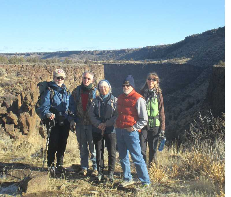 SUBMITTED PHOTO - Skip Smith, Dan O'Brien, Cindy Murray, Bim Gander and Sue Combs joined Dan Chamness for a bracing hike on the Otter Bench Trail along the Crooked River canyon on Dec. 31.