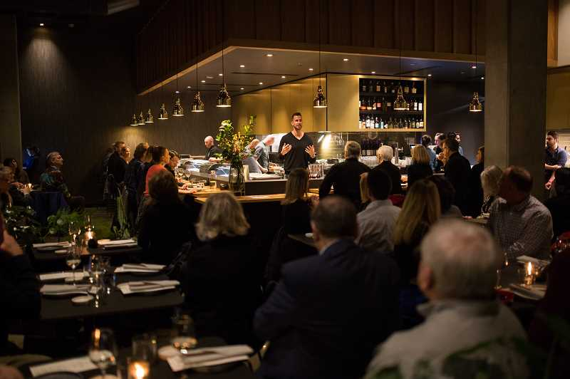 PHOTO COURTESY OF SUSTAINABLE RESTAURANT GROUP - Bamboo Sushi founder Kristofer Lofgren welcomes civic and community leaders to the restaurant's soft opening in Lake Oswego on Monday. 'We are excited to venture out of Portland,' he said, 'and share what we do.'