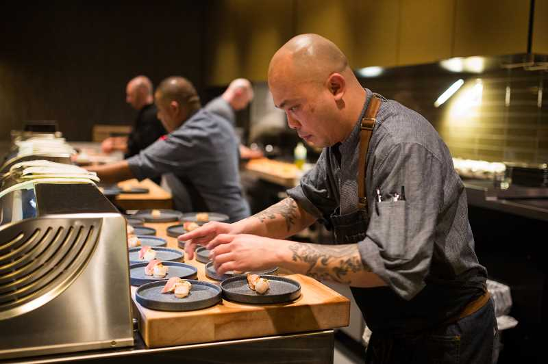 PHOTO COURTESY OF SUSTAINABLE RESTAURANT GROUP - Bamboo Sushi's Lake Oswego kitchen was abuzz Monday night during the restaurant's soft opening, where Adi Somadi and crew prepared a special five-course meal. Doors officially opened to the public on Wednesday.