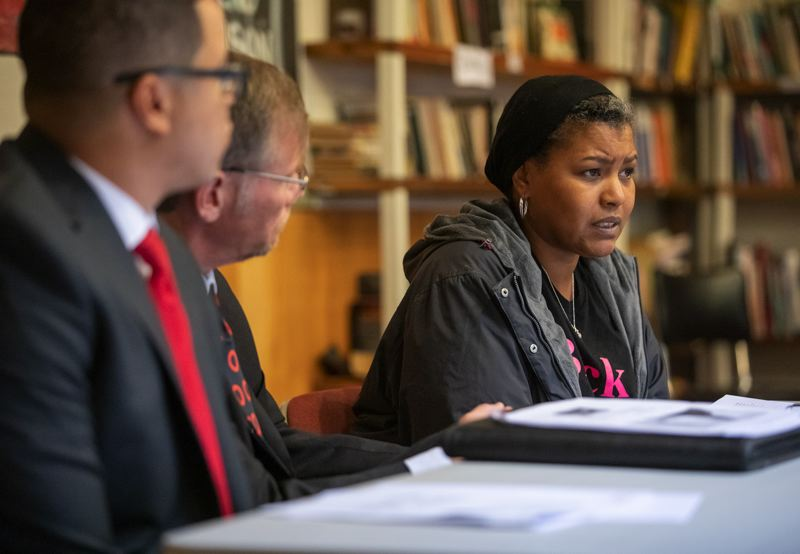PAMPLIN MEDIA GROUP: JONATHAN HOUSE - Don't Shoot Portland founder Teressa Raiford told reporters Wednesday, Jan. 9, that she planned to take legal action because of problems highlighted in a state audit of Portland Public Schools.